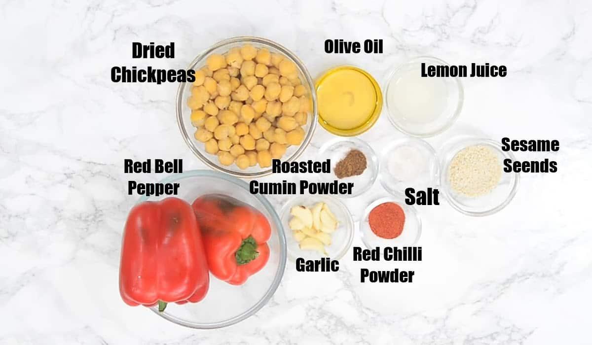Roasted red pepper hummus ingredients.