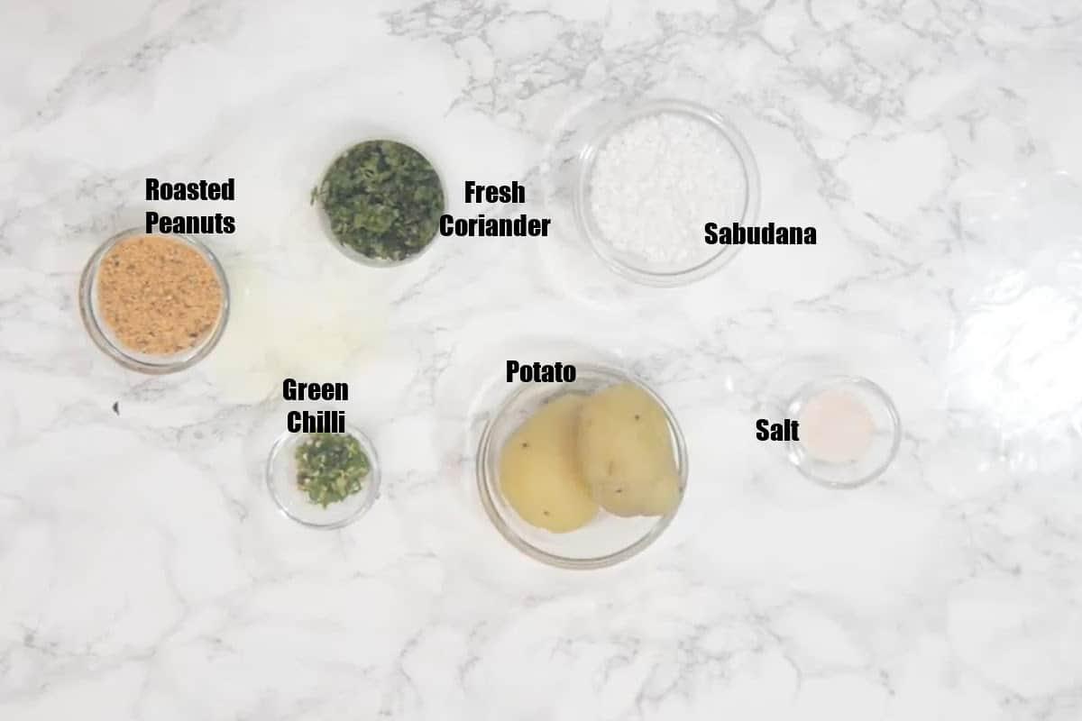 Sabudana Vada Ingredients.