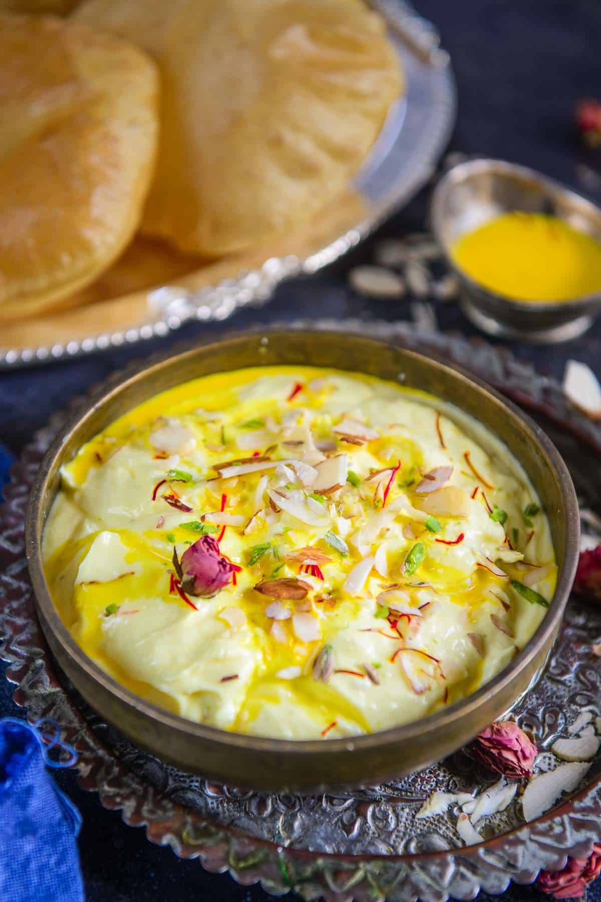 Shrikhand served in a bowl.