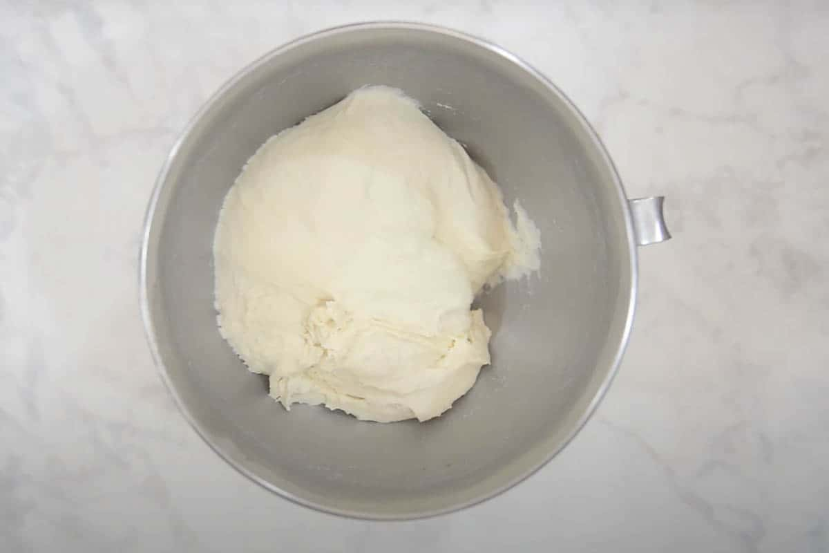 Dough ready in stand mixer bowl