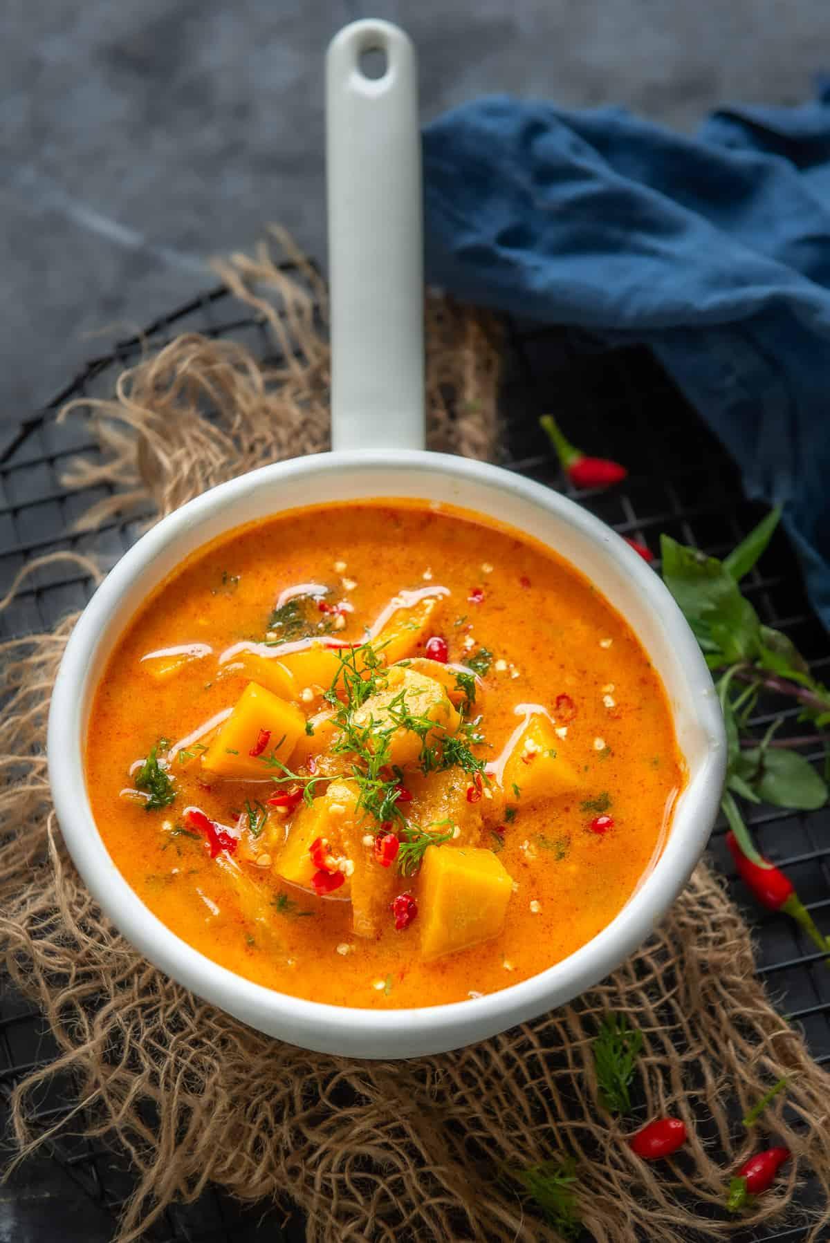 Thai Pumpkin Curry served in a pan.