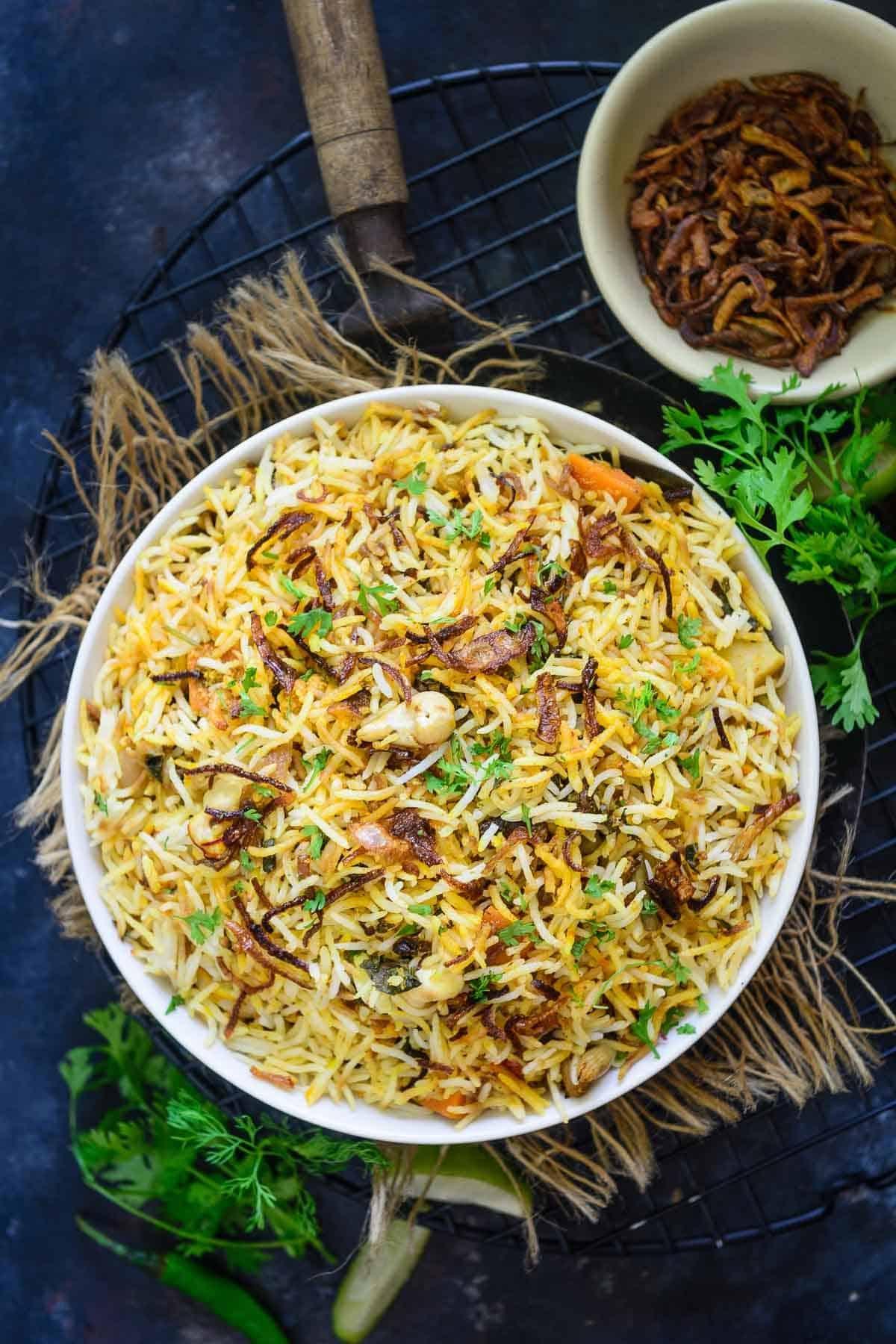 Hyderabadi Veg Biryani served in a bowl.