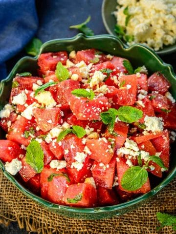 This refreshing sweet and salty Watermelon Feta Salad is a perfect summer salad to serve for backyard parties or BBQs. Made using just 5 ingredients and in 15 minutes, this recipe is a keeper.