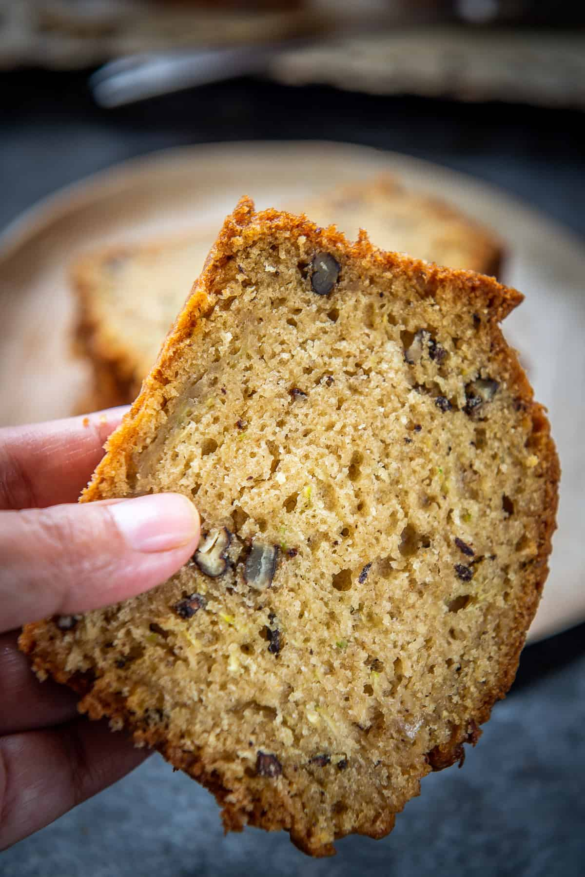Close up shot of Zucchini Bread Slice.