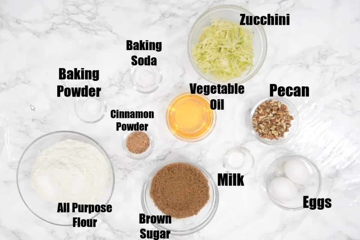 Zucchini Bread Ingredients.