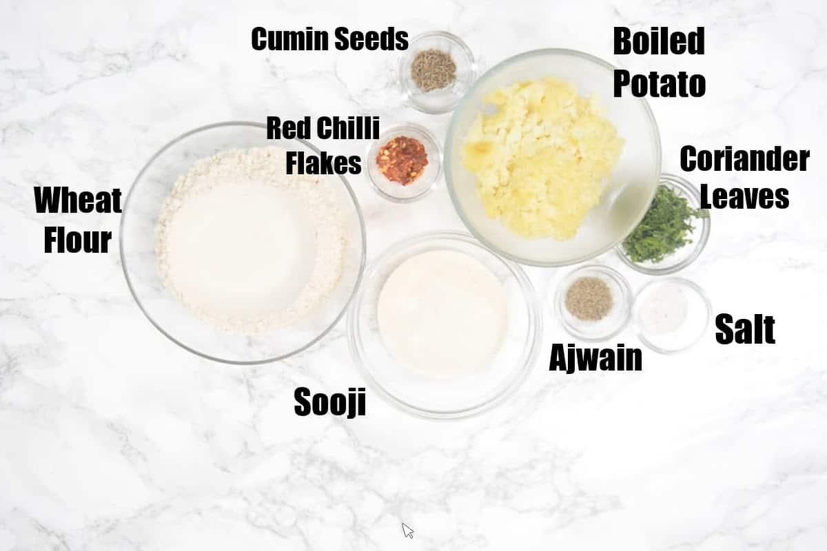 Aloo Puri Ingredients.