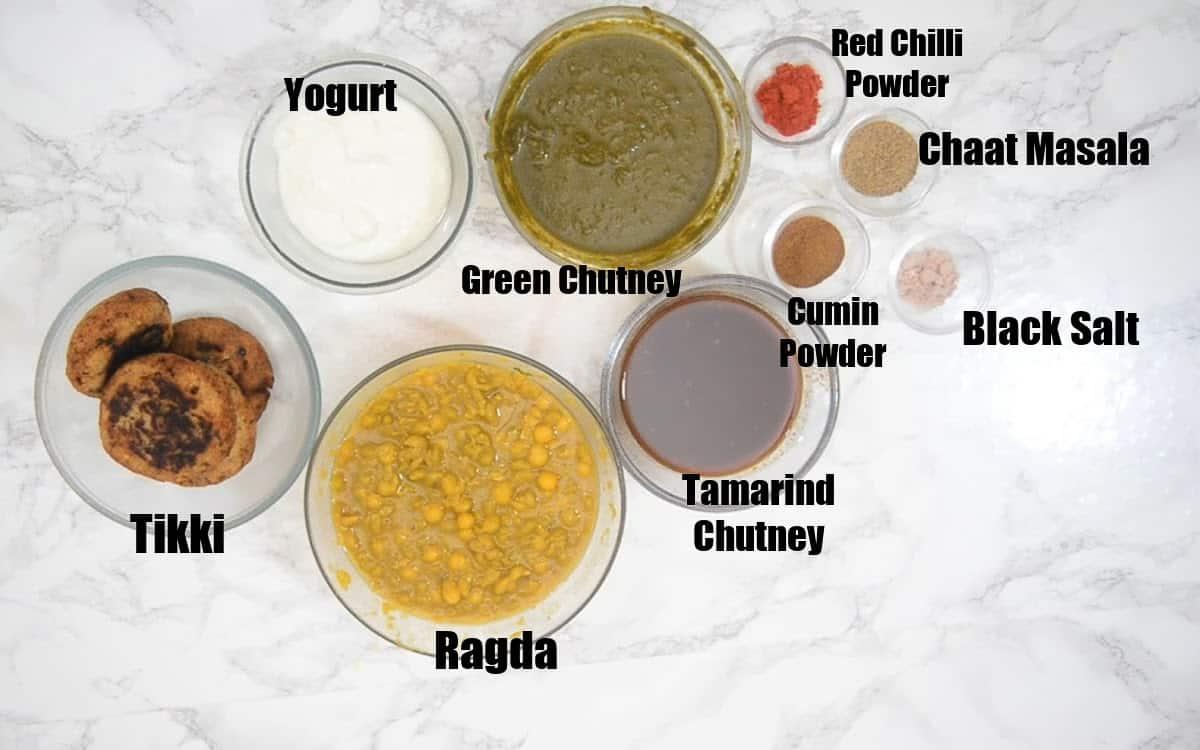 Aloo Tikki Chaat Ingredients.