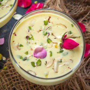 Basundi is a traditional Indian dessert famous in Maharashtra, Gujarat, and some parts of Karnataka. It is basically thickened milk flavored with cardamom and saffron. Serve it on its own or with poori for a delicious treat.