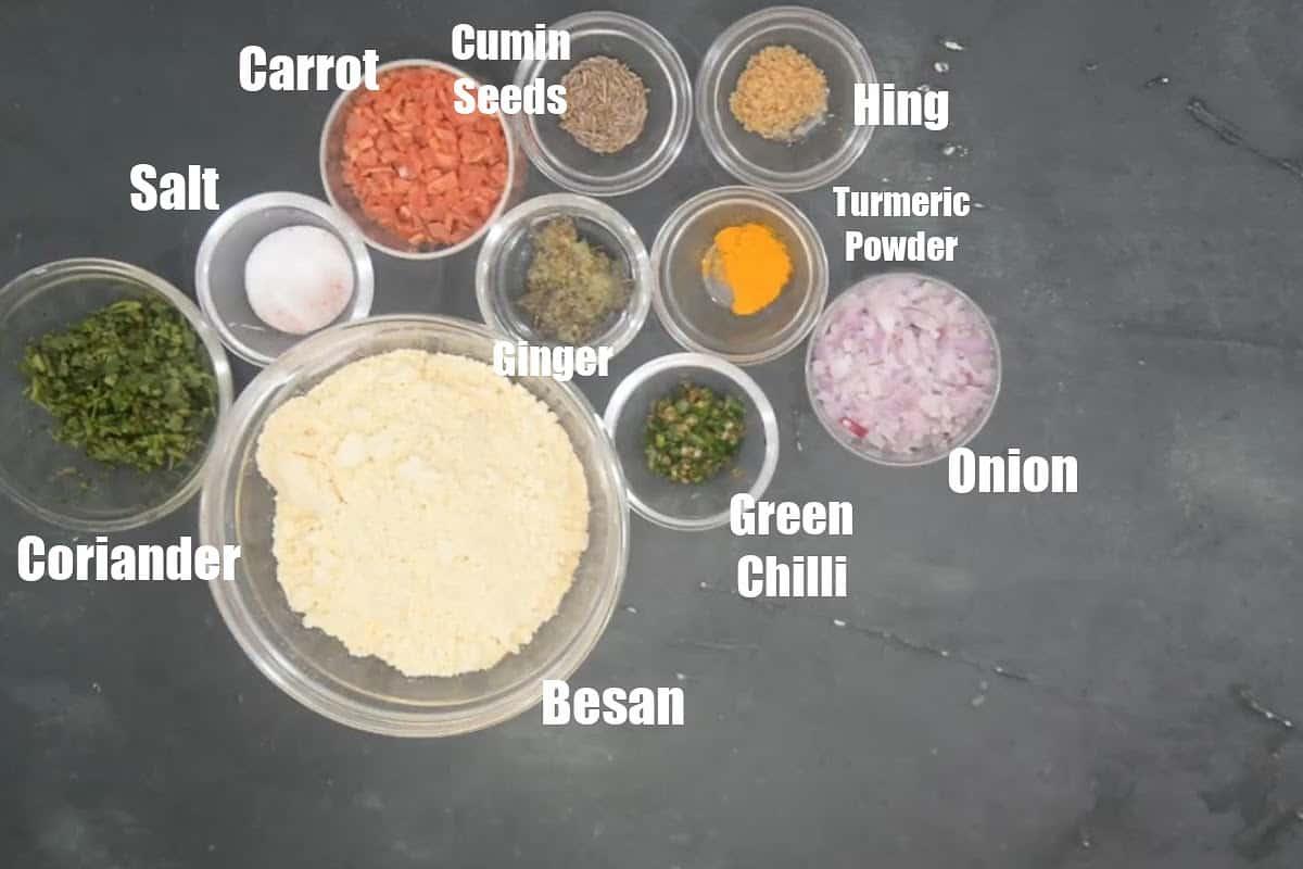 Besan Chilla Ingredients.