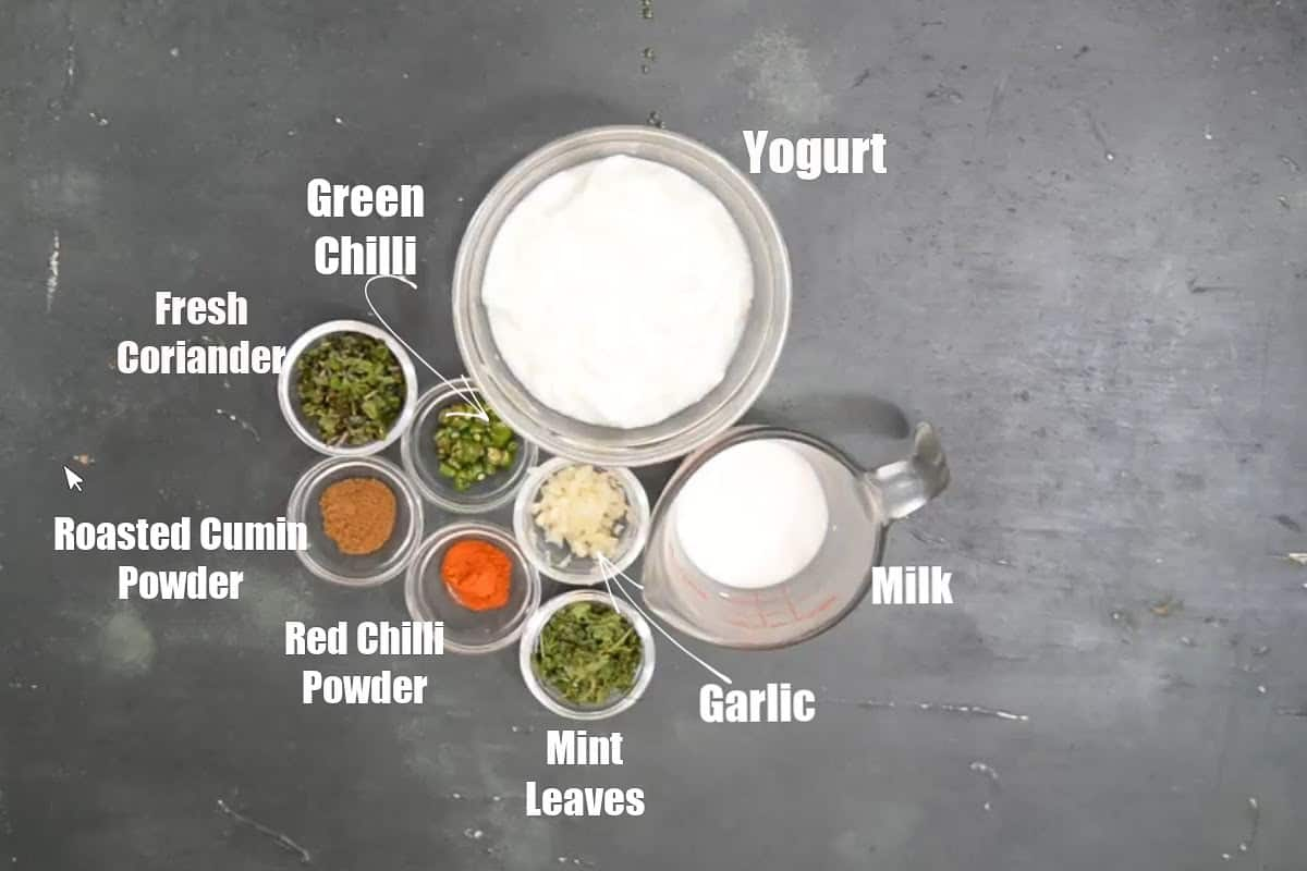 Burani Raita Ingredients.