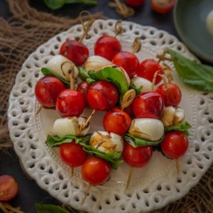 These Italian Tomato-Mozzarella Caprese Skewers are easy and quick appetizer which you can make ahead of the party. Check out the easy recipe.