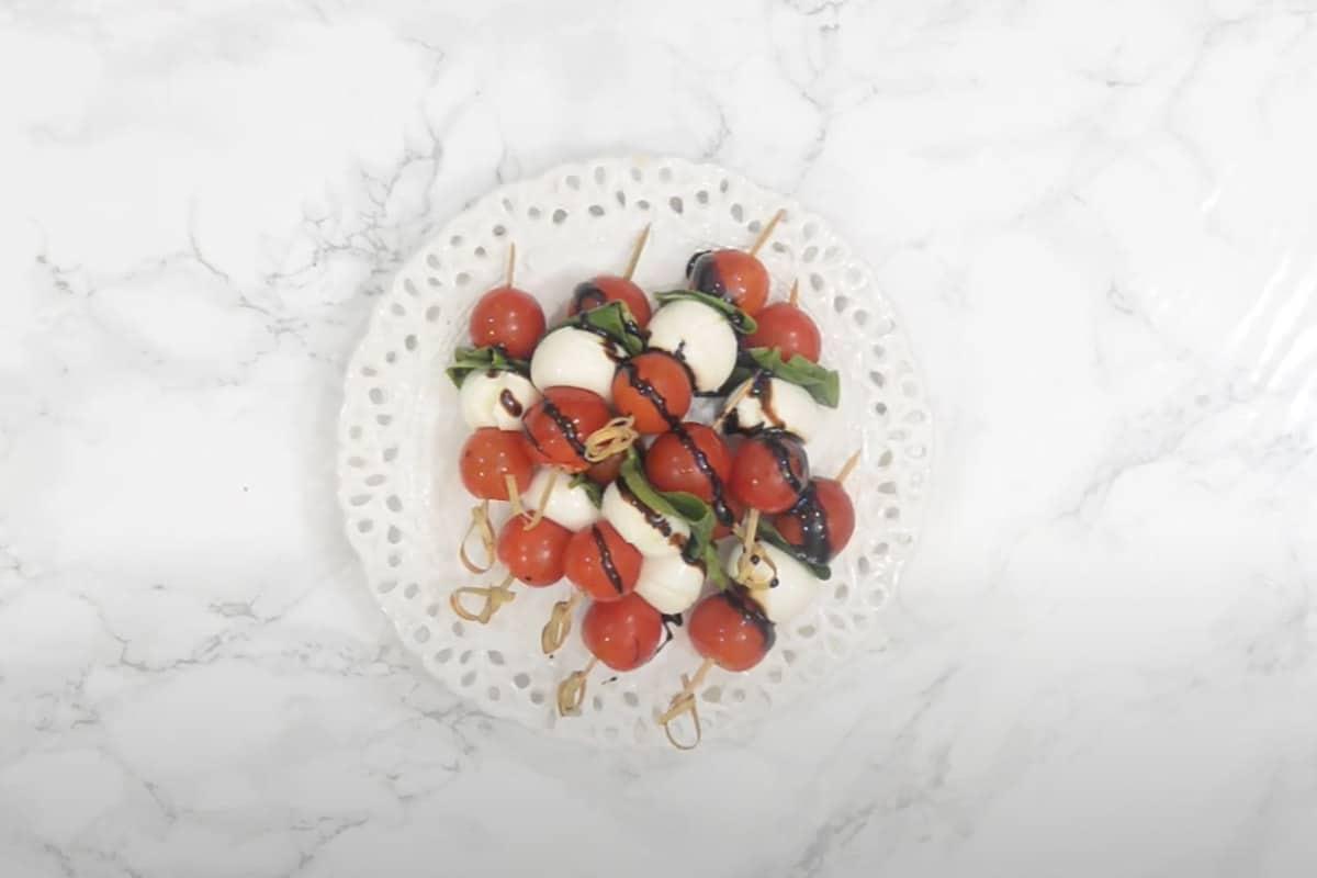 Ready tomato mozzarella caprese skewers.