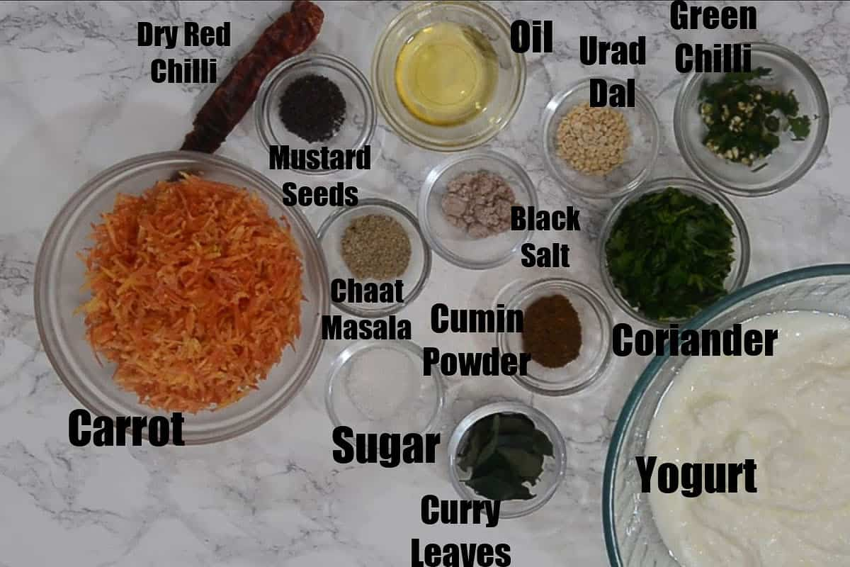 Carrot Raita Ingredients.