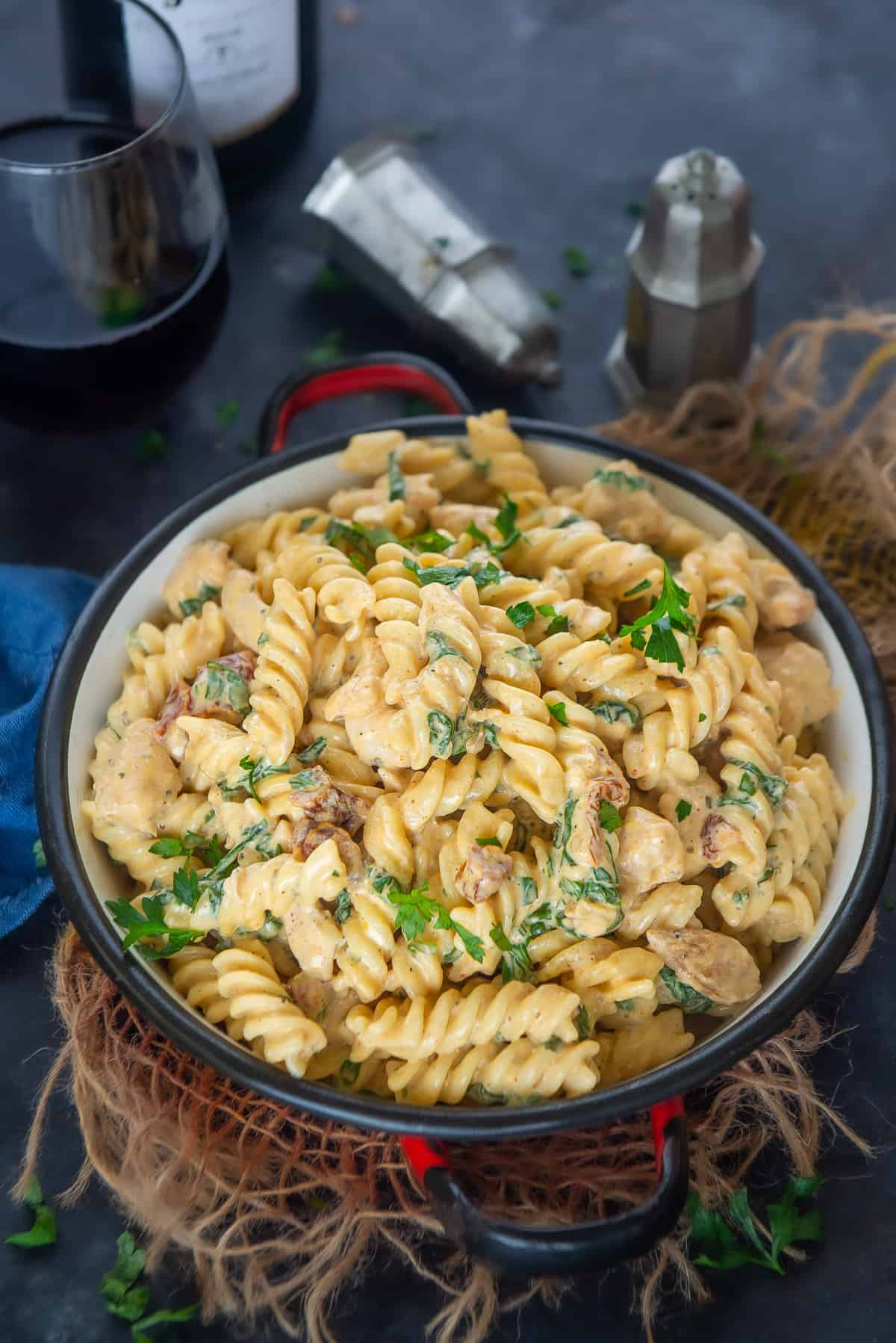 Chicken Florentine Pasta served in a bowl.