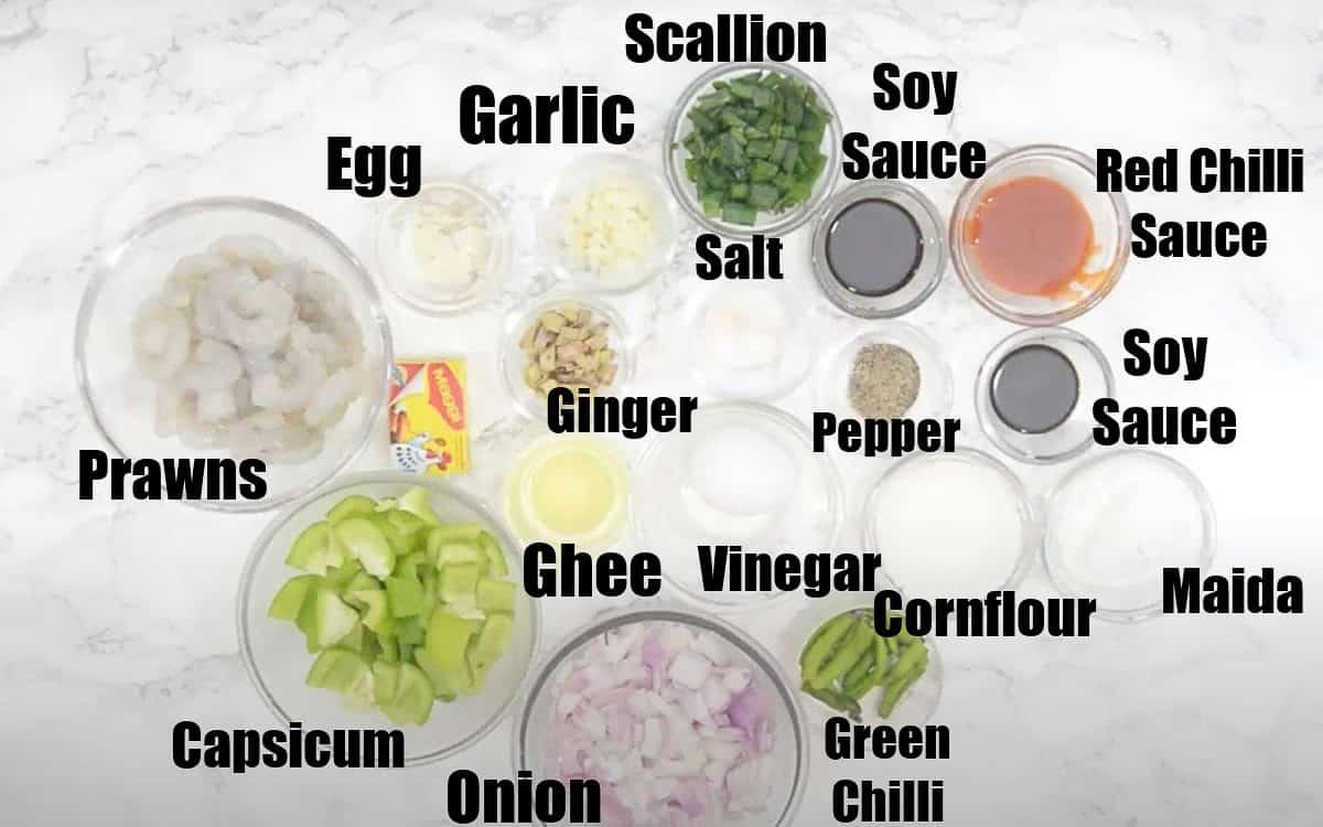 Chilli Prawns Ingredients.
