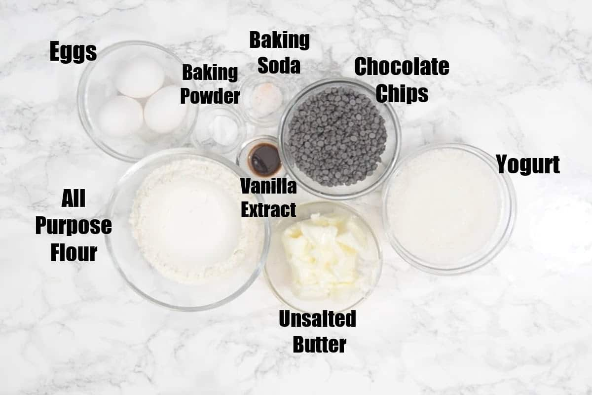 Chocolate Chip Pound Cake Ingredients.