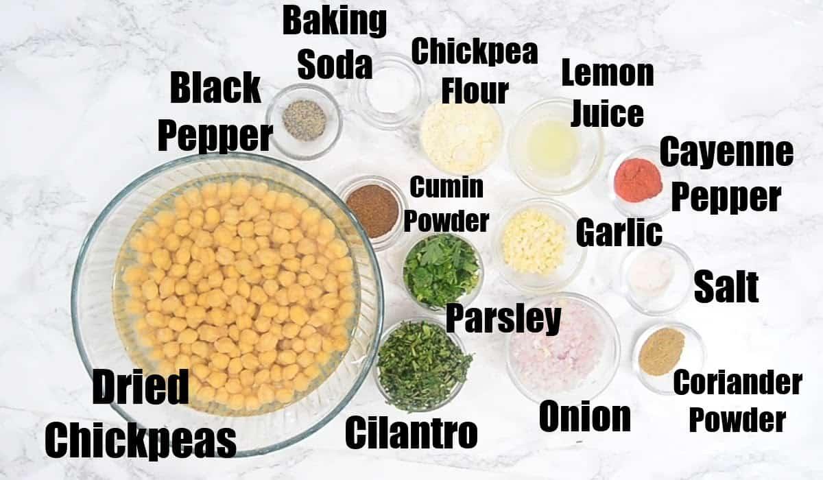 Falafel Ingredients.