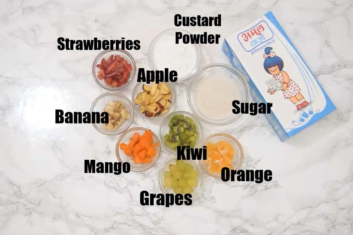Fruit Custard Ingredients.