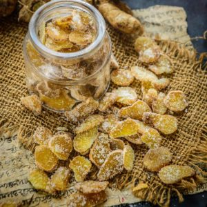 DIY ginger candy (crystallized ginger) are sweet, spicy, crunchy, and chewy all at the same time. Make these from scratch and serve as candy or add it to your cookie or fruit cake recipe for a flavor burst. These also make for a great holiday gift.