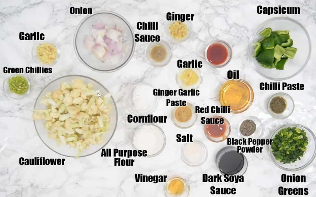 Gobi Manchurian Ingredients.