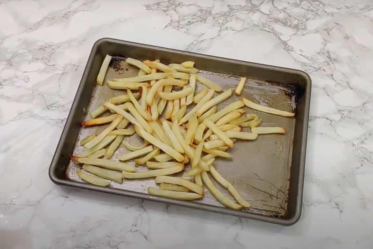 Baked frozen fries.