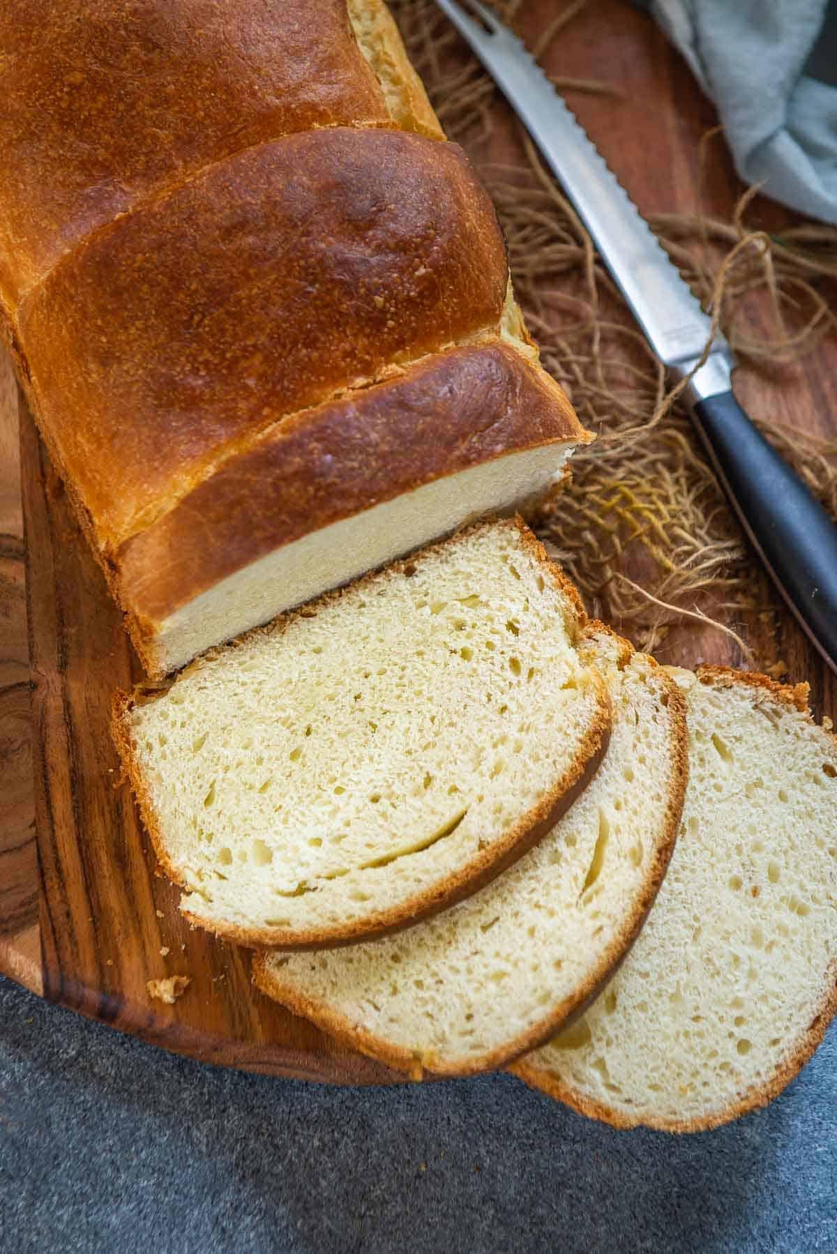 Sliced Japanese milk bread.