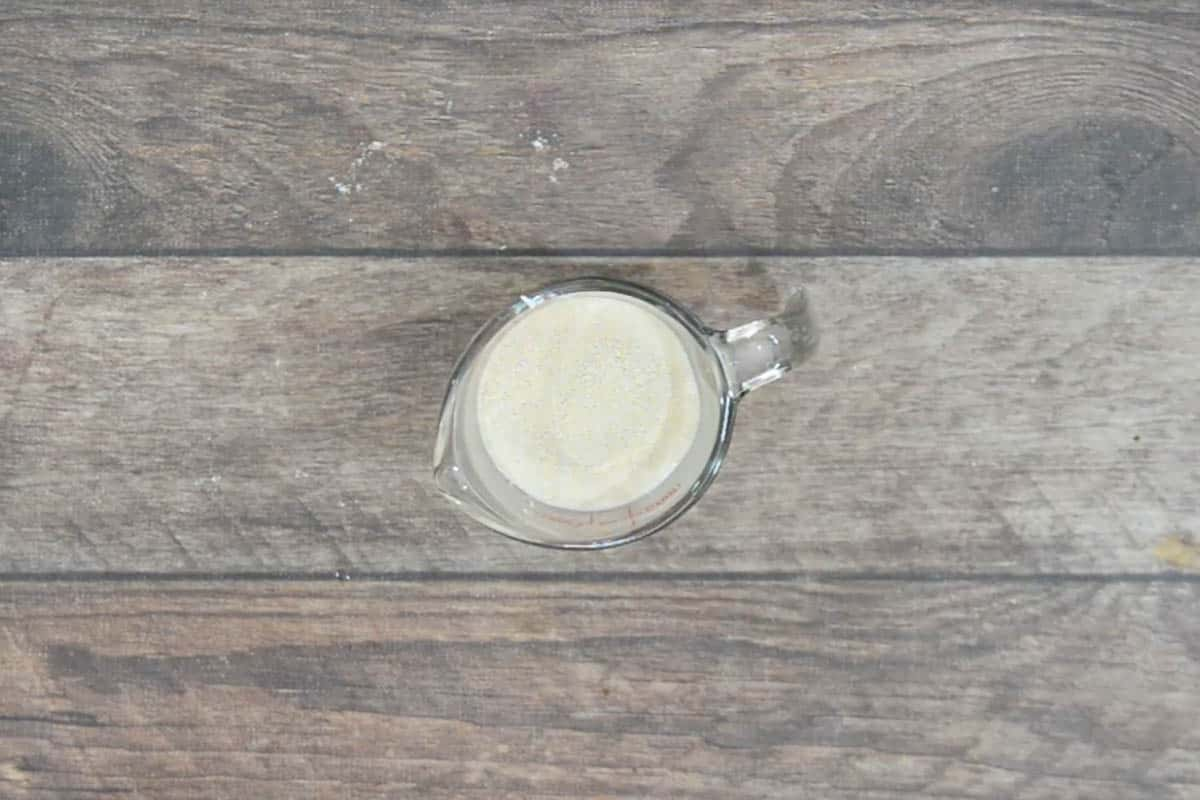 Warm milk, sugar and active dry yeast added to a cup.