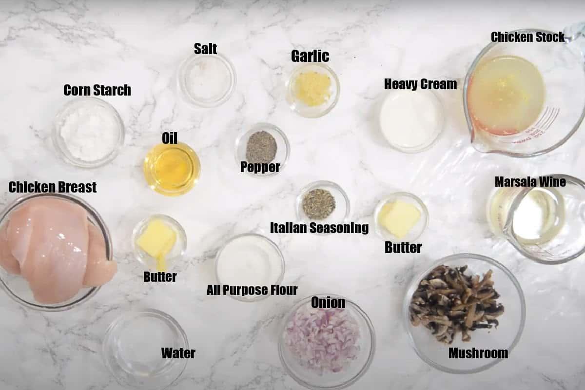 Instant Pot Chicken Marsala Ingredients.