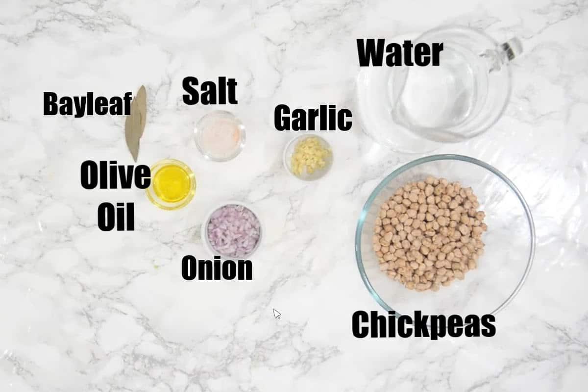 Instant Pot Chickpeas Ingredients.
