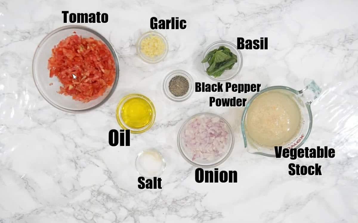Instant Pot Tomato Soup Ingredients.
