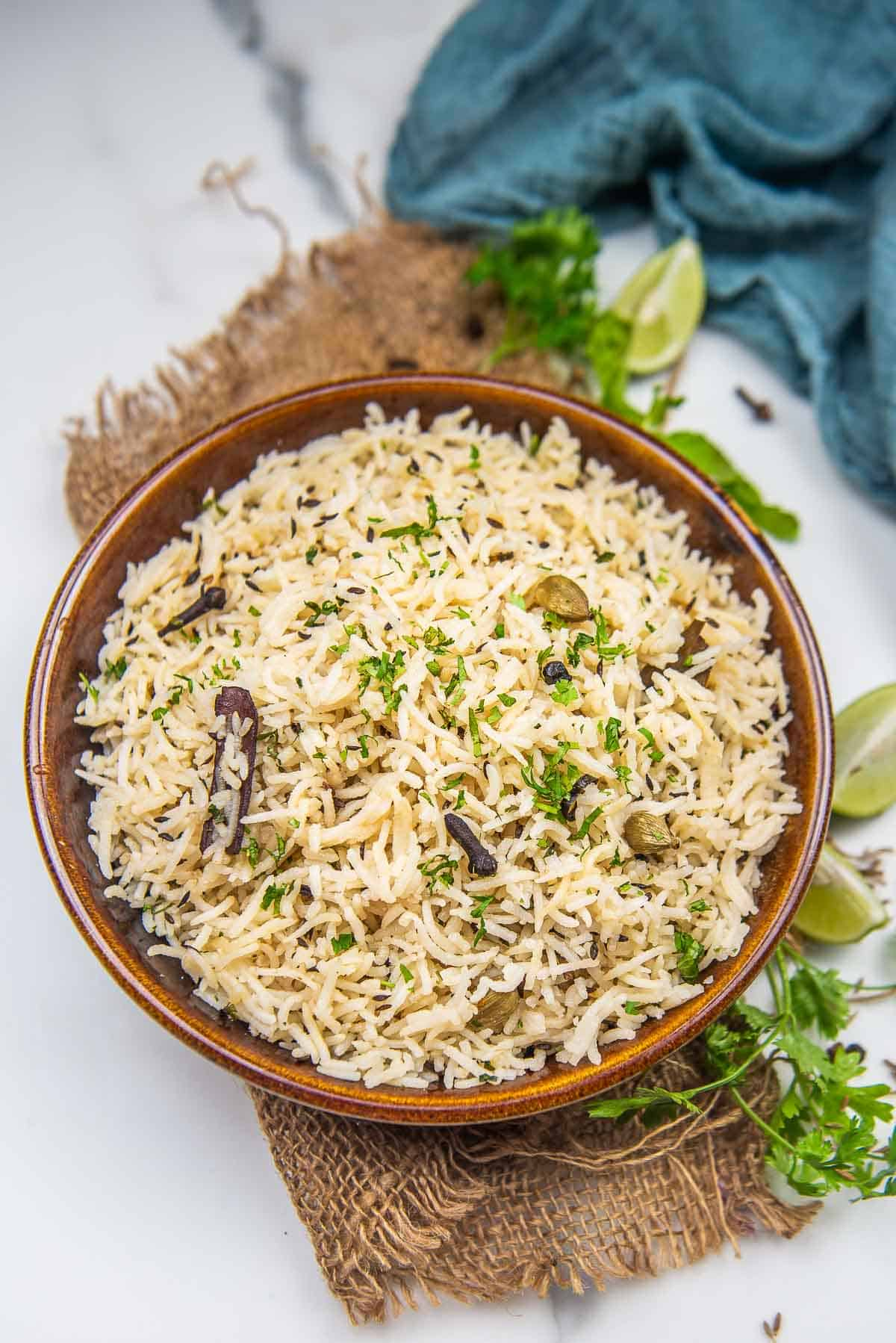 Jeera rice served in a bowl.