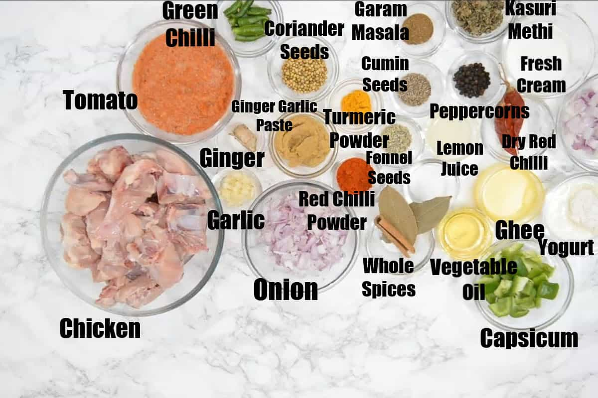 Kadai Chicken Ingredients.