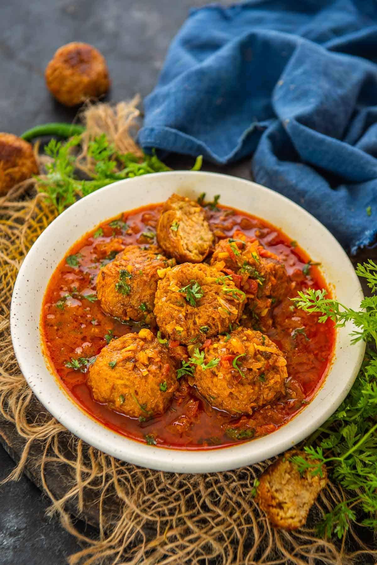 Lauki kofta served in a bowl.