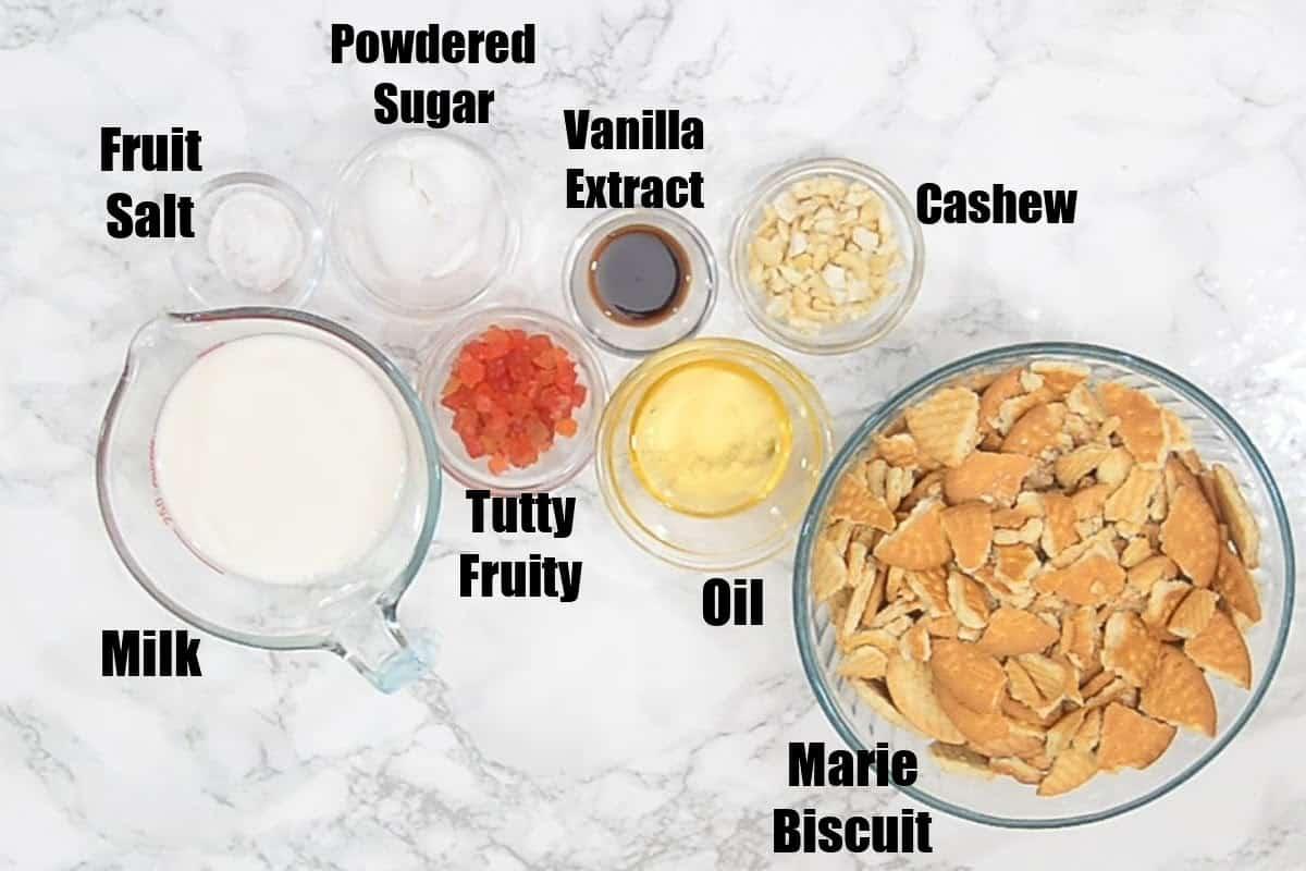 Marie Biscuit Cake Ingredients.