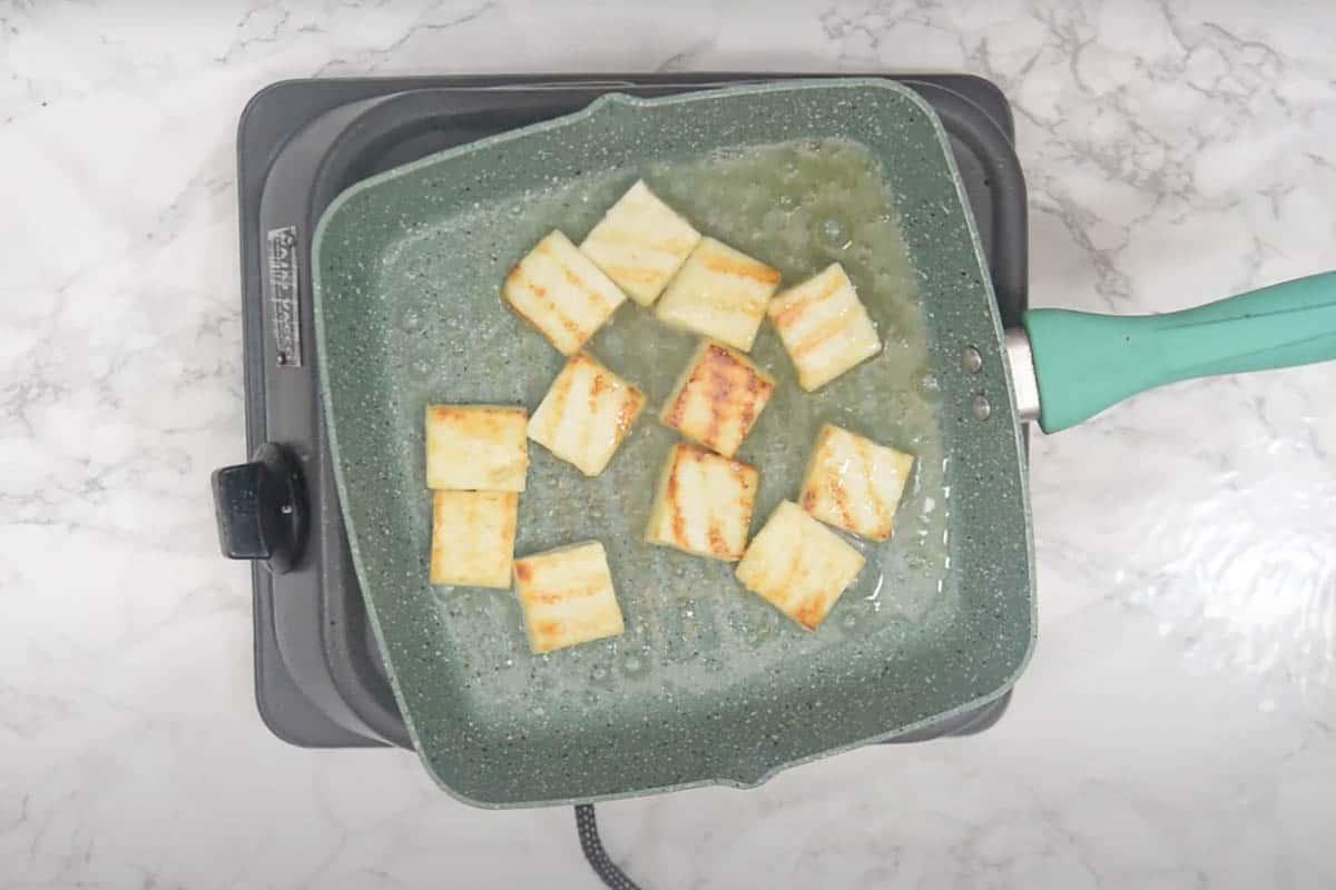 Fried paneer cubes.