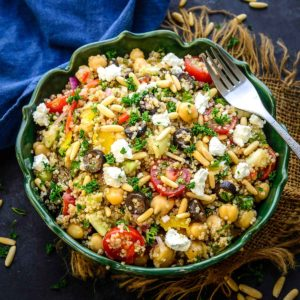 Loaded with the nutrients of vegetables along with a zesty and flavourful dressing, Mediterranean Quinoa Salad, is a delicious salad that can be made in under 10 minutes. Serve it on its own or a side dish for your weekend brunch.