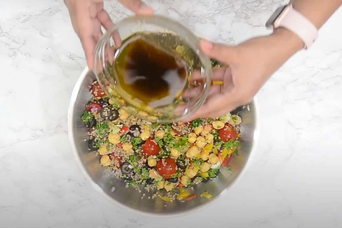 Dressing poured over the salad.