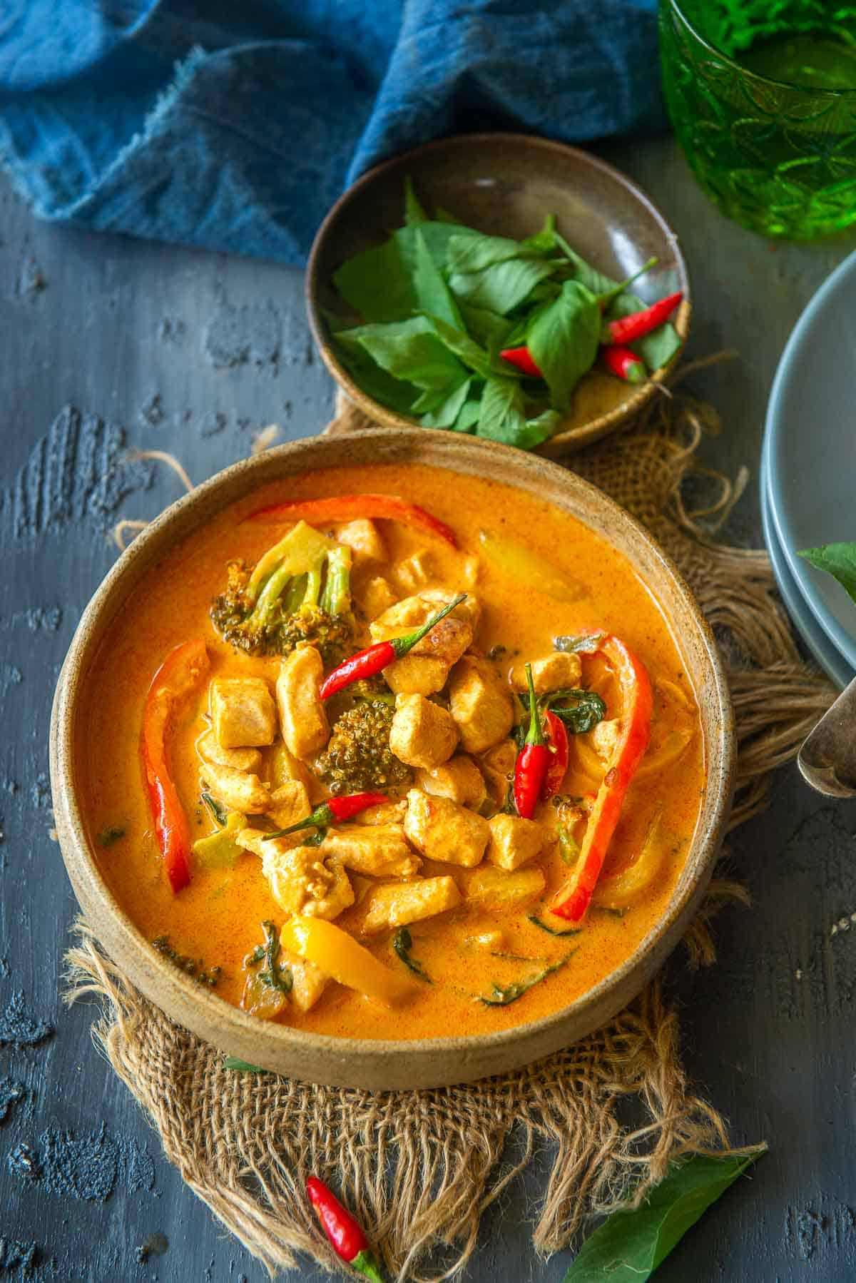 Chicken Panang curry served in a bowl.