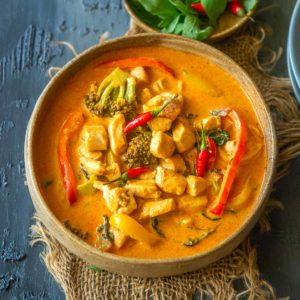 Make rich, creamy, and spicy Thai Panang curry at home in just 20 minutes. It's much more flavorful than the take-out and can be made vegan too.