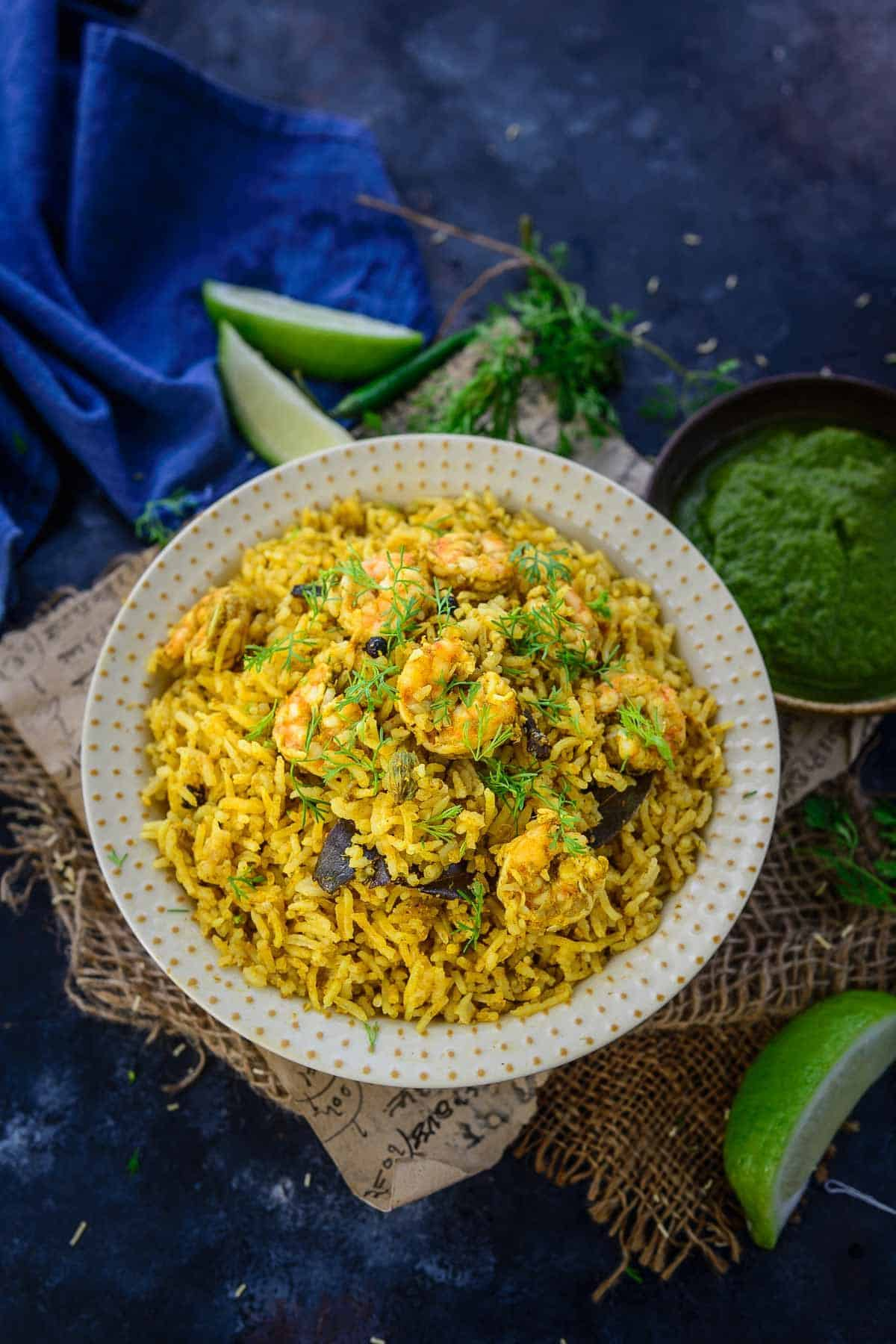 Prawn Pulao served in a bowl.