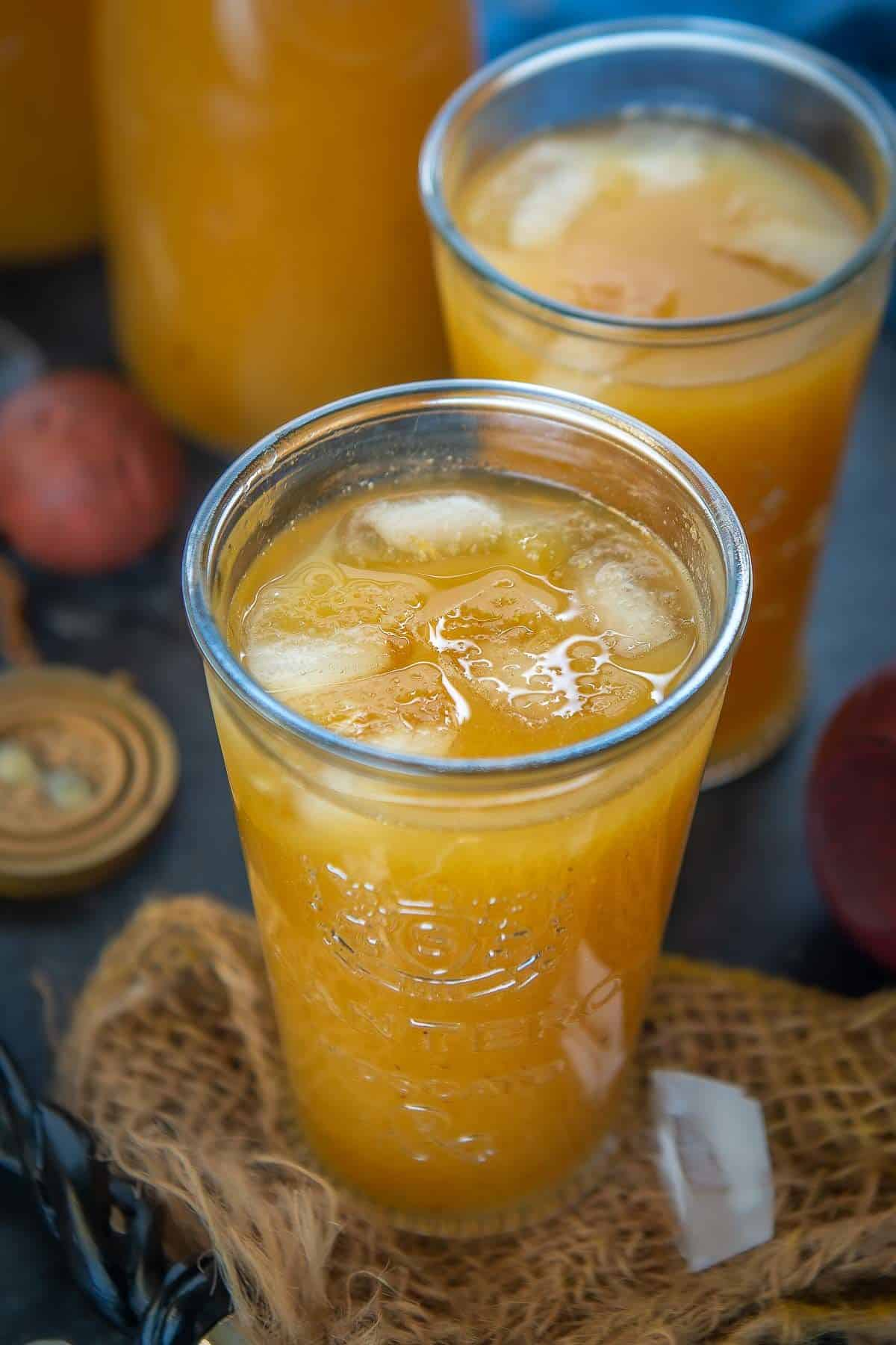 Pumpkin juice served in a glass.