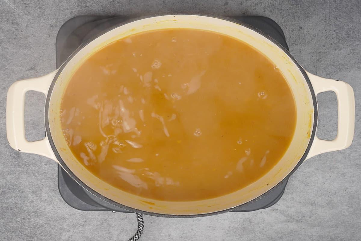 Vanilla extract added to ready pumpkin juice.