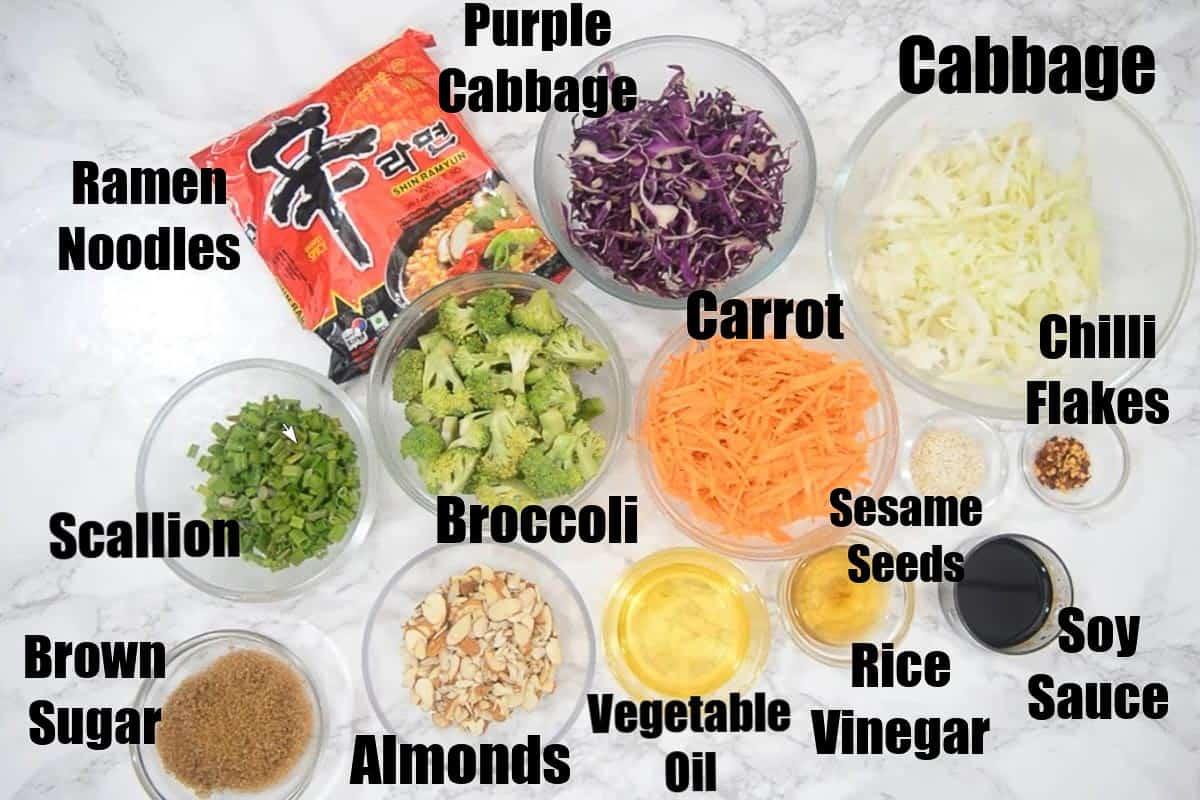 Ramen Noodle Salad Ingredients.