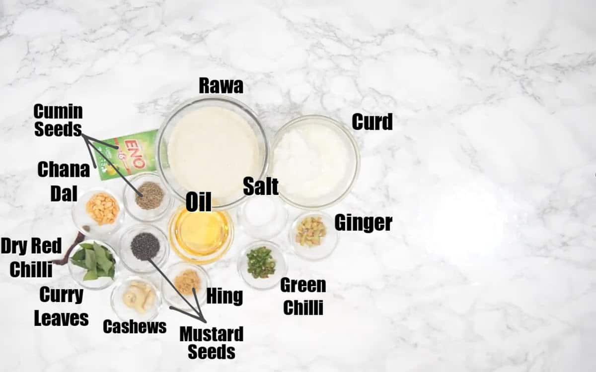 Rava Idli Ingredients.