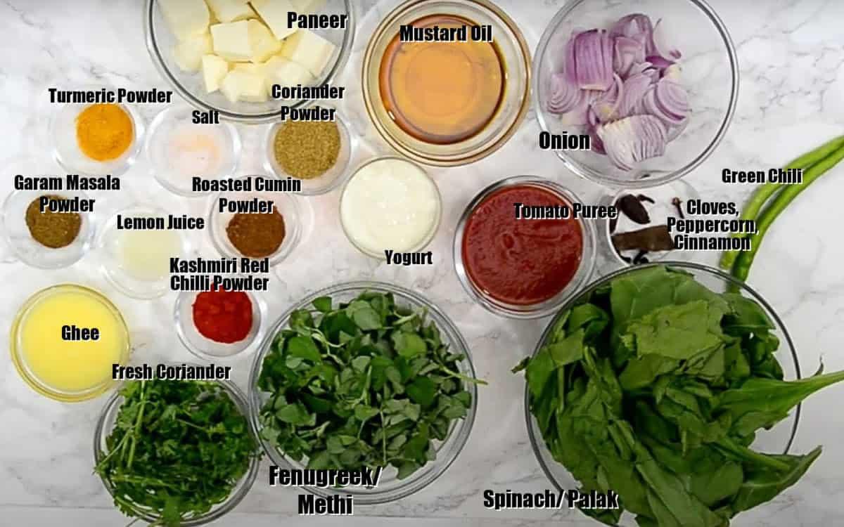 Saag paneer Ingredients.