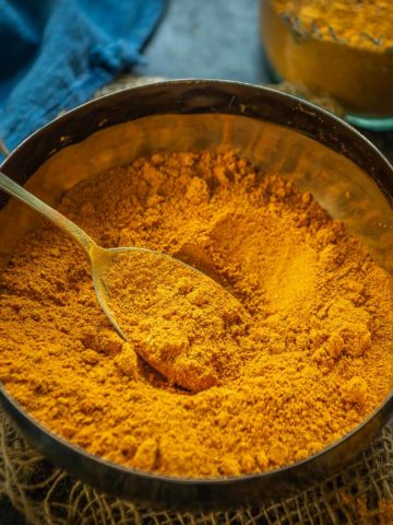 Sambar Powder (Sambar Masala, or Sambar Podi) is a South Indian condiment or spice mix which is added in sambar to give it a delicious flavor. Use it to make a kickass sambar or add it in a simple stir fry, this is going to make your recipes a keeper.