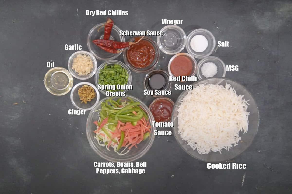 Schezwan Fried Rice Ingredients.