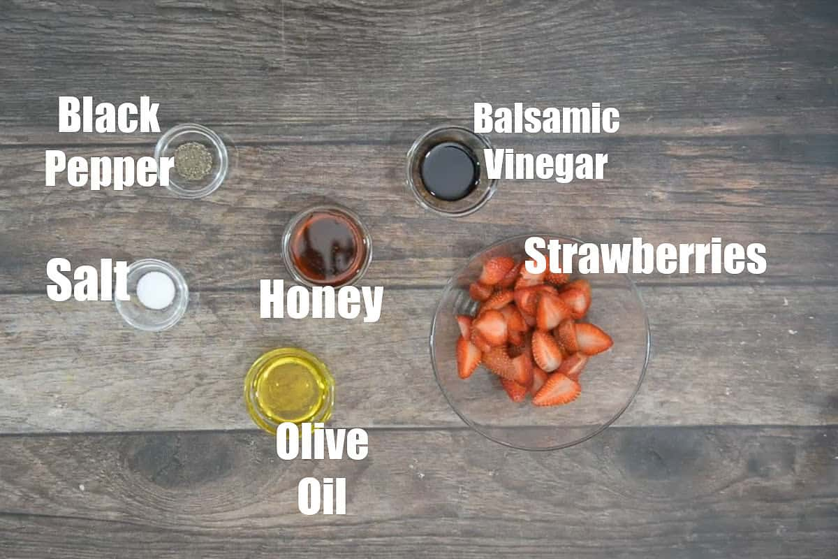 Strawberry walnut salad dressing ingredients.