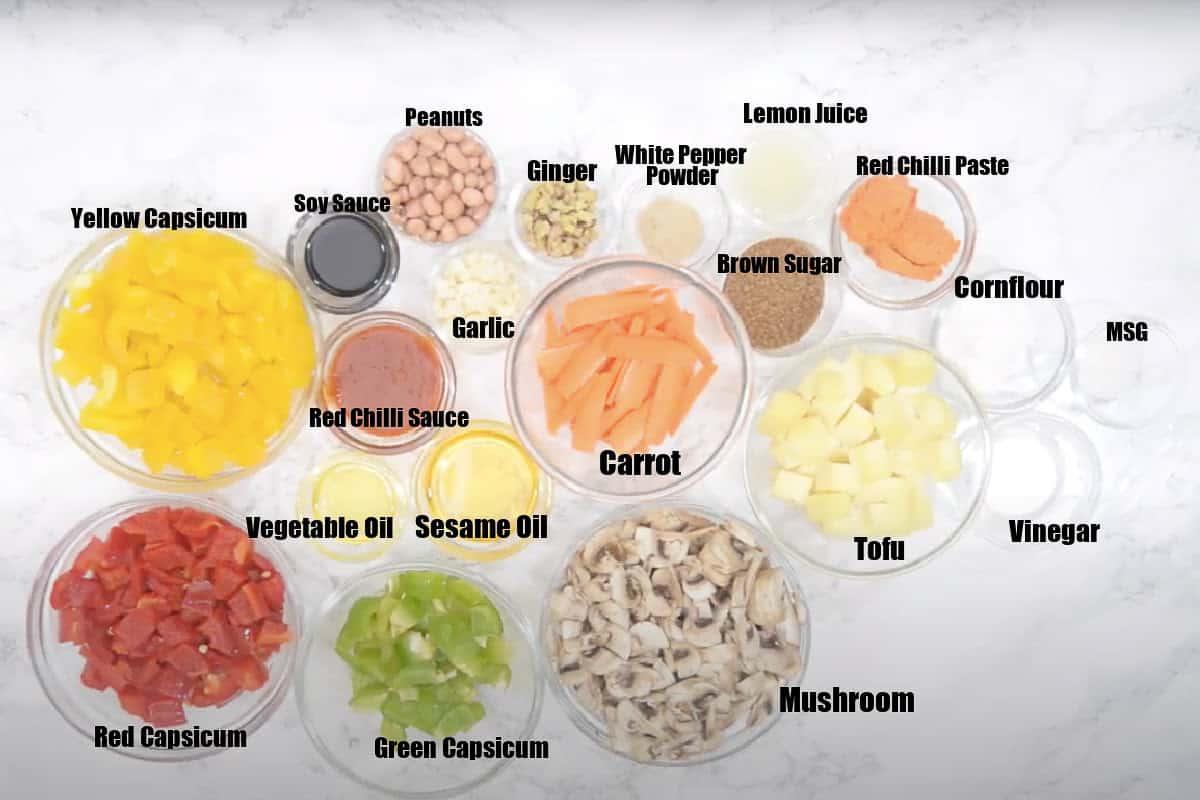 Sweet and Sour Vegetables Ingredients.
