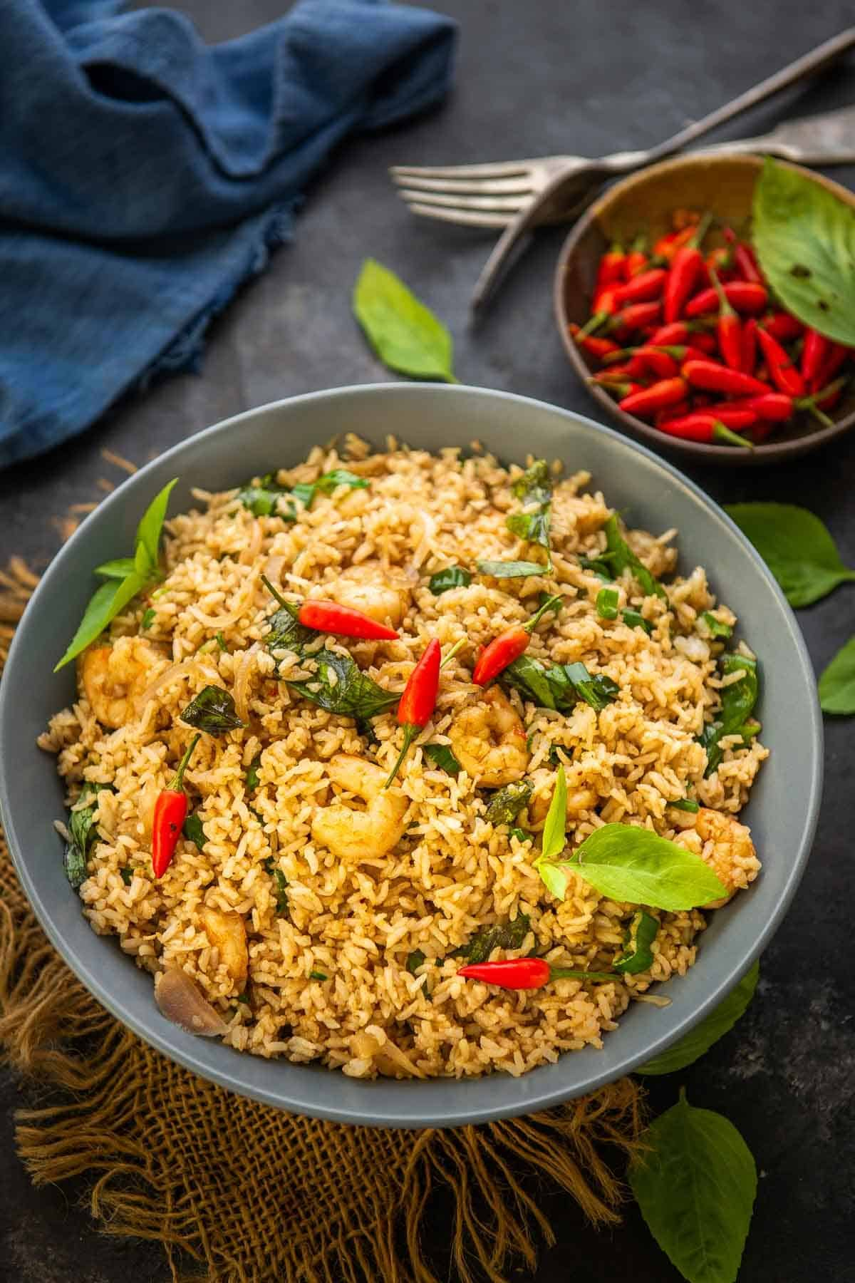 Thai fried rice served in a bowl.